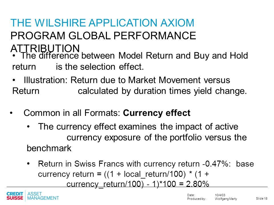 THE WILSHIRE APPLICATION AXIOM PROGRAM GLOBAL PERFORMANCE ATTRIBUTION