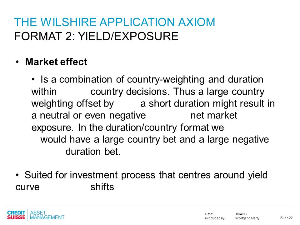 THE WILSHIRE APPLICATION AXIOM FORMAT 2: YIELD/EXPOSURE