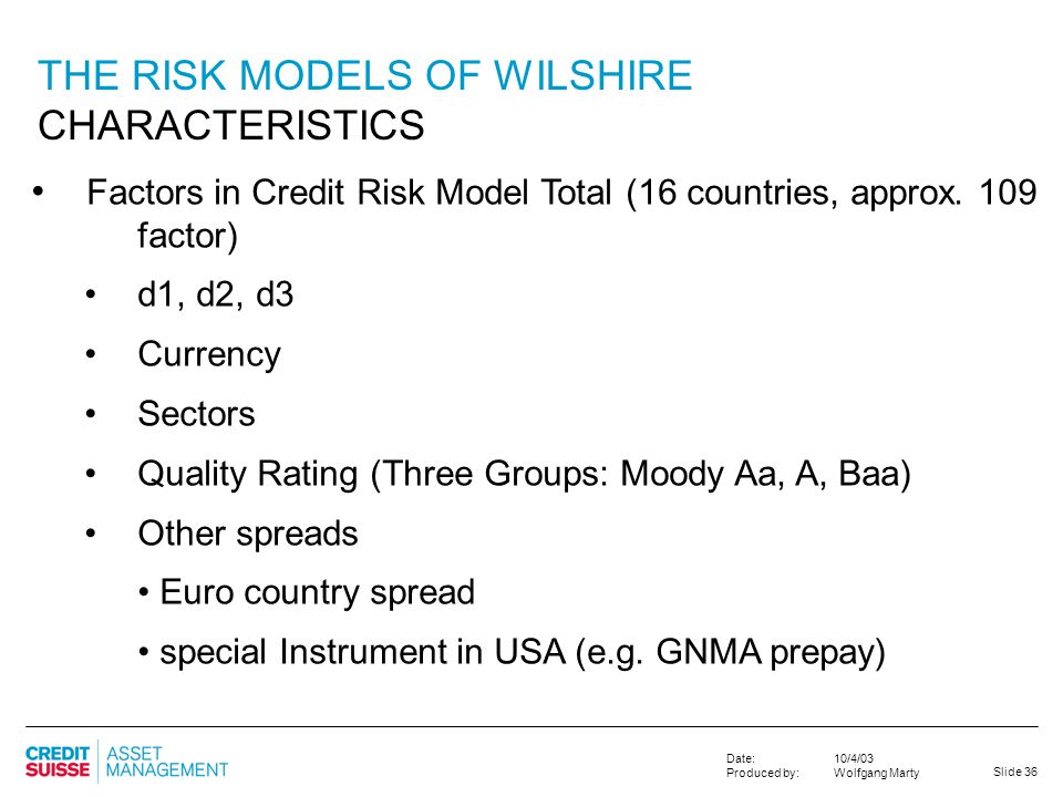 THE RISK MODELS OF WILSHIRE CHARACTERISTICS