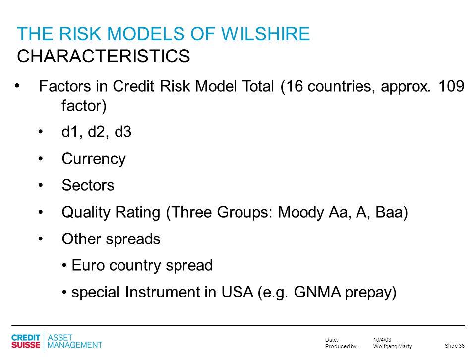 THE RISK MODELS OF WILSHIRE CHARACTERISTICS