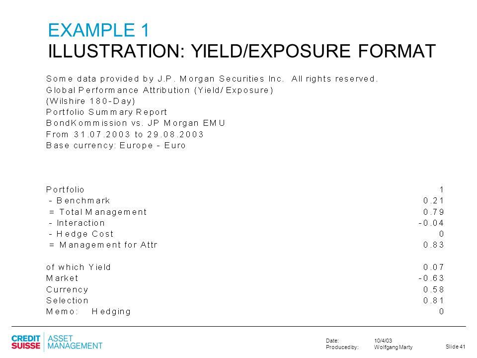 EXAMPLE 1 ILLUSTRATION: YIELD/EXPOSURE FORMAT