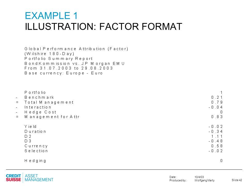 EXAMPLE 1 ILLUSTRATION: FACTOR FORMAT