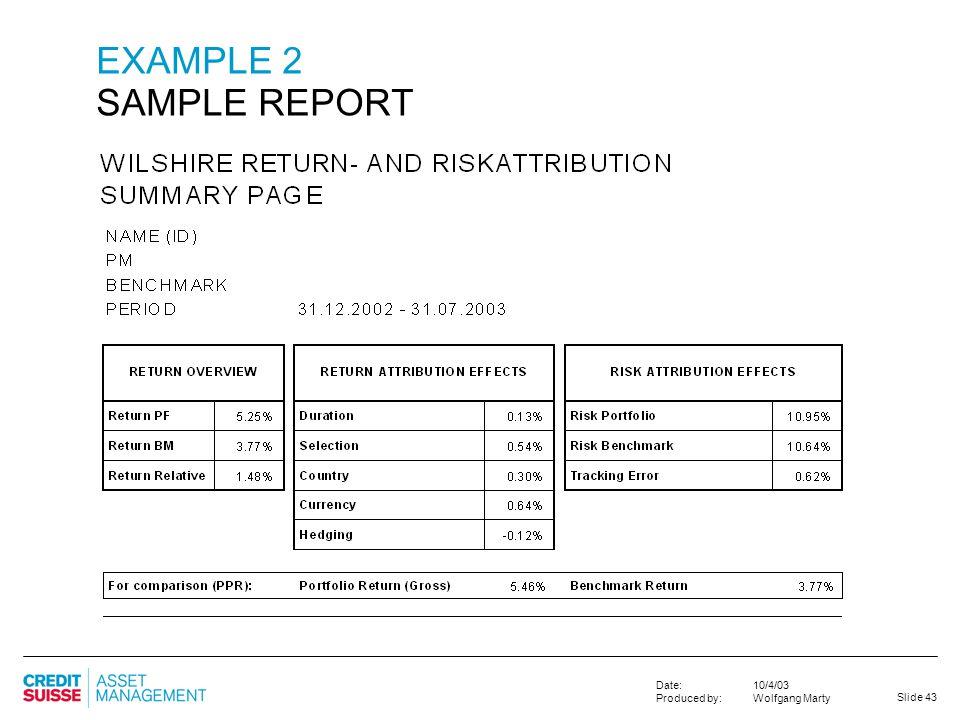 EXAMPLE 2 SAMPLE REPORT