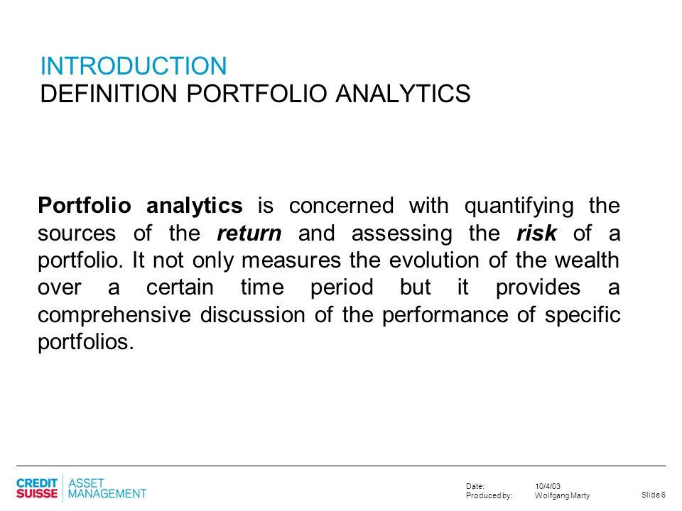 INTRODUCTION DEFINITION PORTFOLIO ANALYTICS