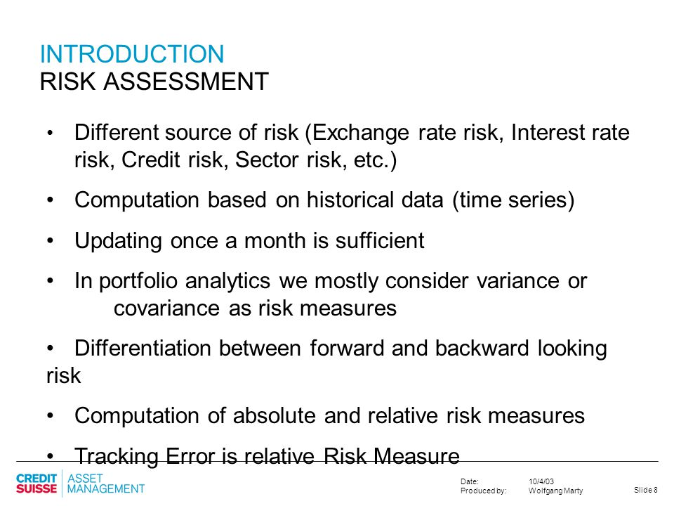 INTRODUCTION RISK ASSESSMENT