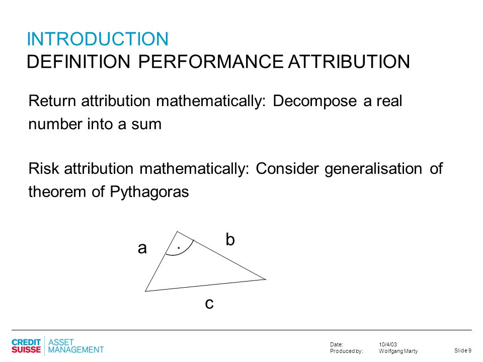 DEFINITION PERFORMANCE ATTRIBUTION