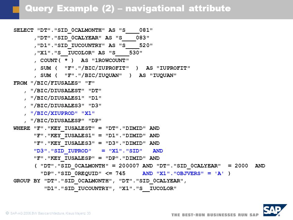 Query Example (2) – navigational attribute