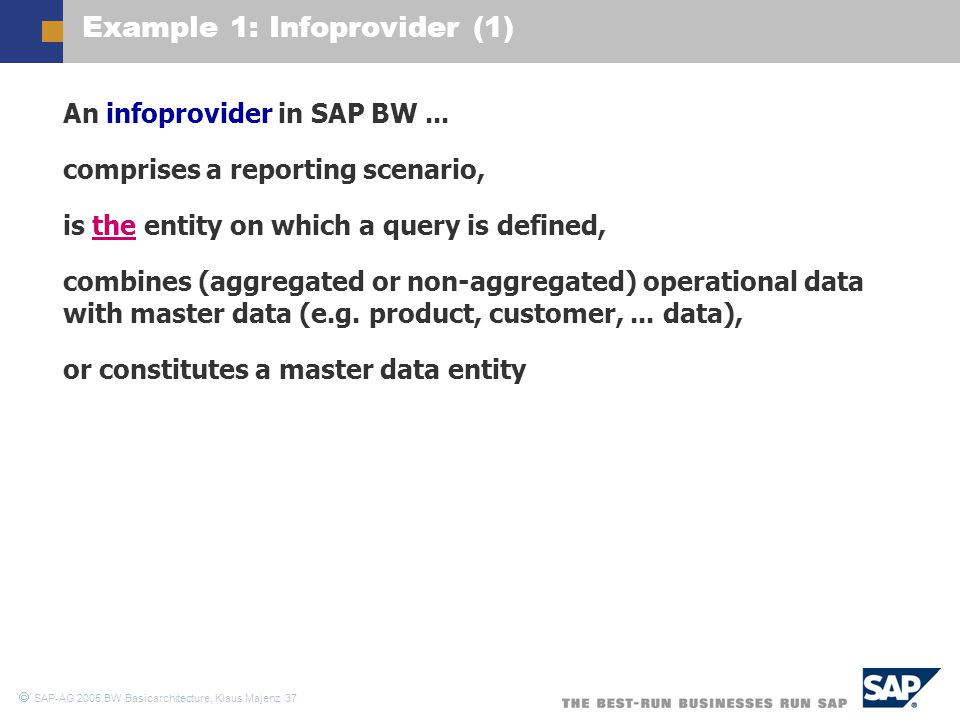 Example 1: Infoprovider (1)