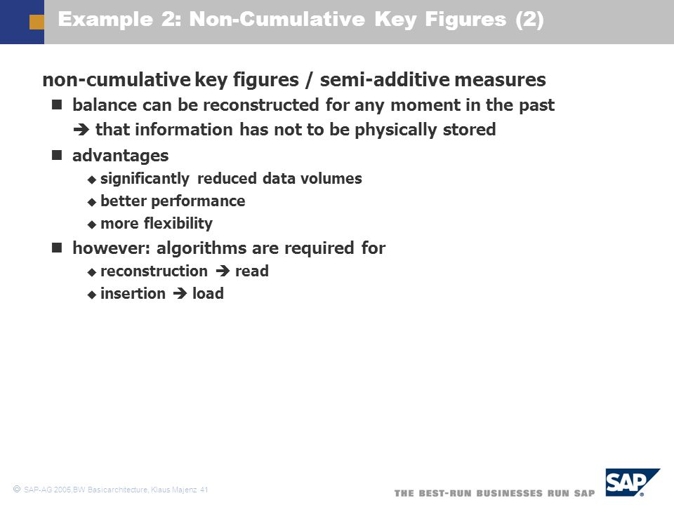 Example 2: Non-Cumulative Key Figures (2)