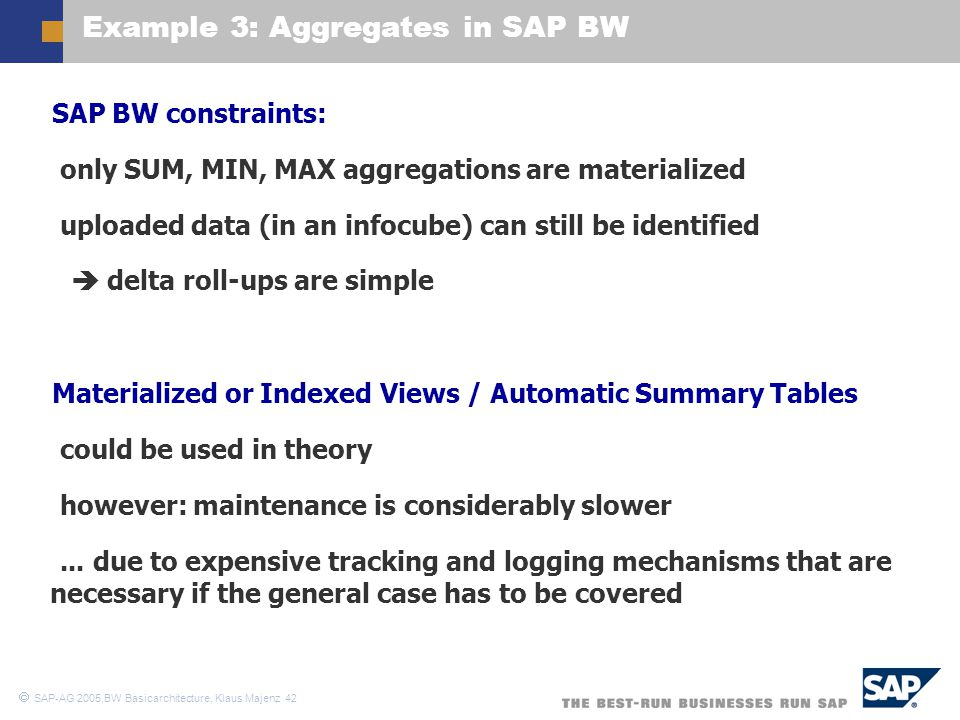 Example 3: Aggregates in SAP BW