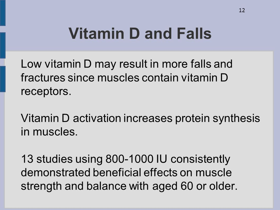 Vitamin D and Falls Low vitamin D may result in more falls and fractures since muscles contain vitamin D receptors.
