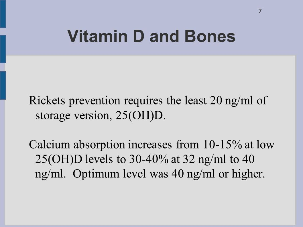 Vitamin D and Bones Rickets prevention requires the least 20 ng/ml of storage version, 25(OH)D.