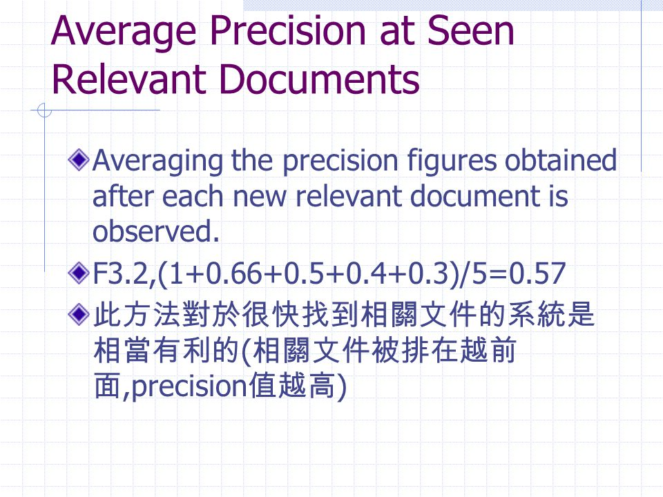 Average Precision at Seen Relevant Documents