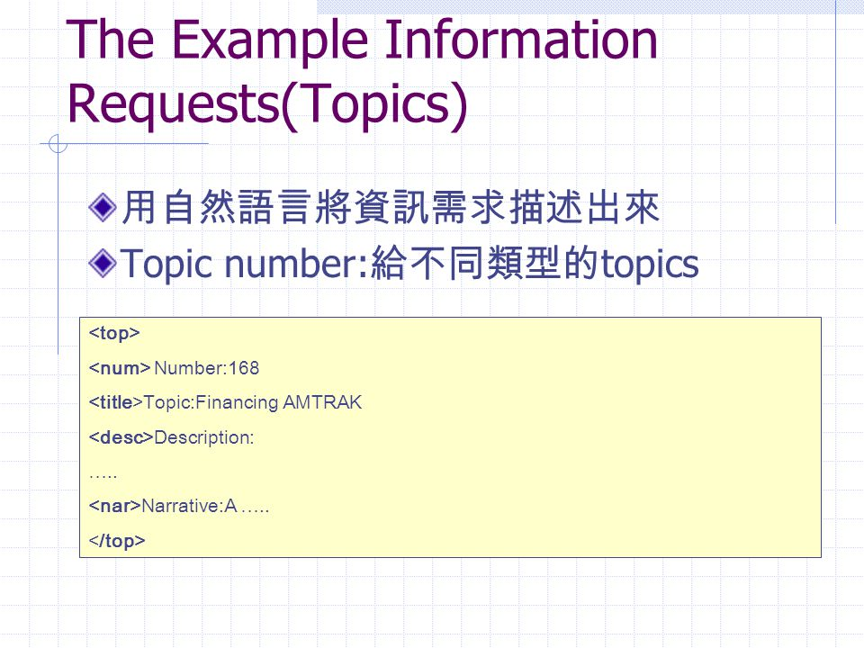 The Example Information Requests(Topics)