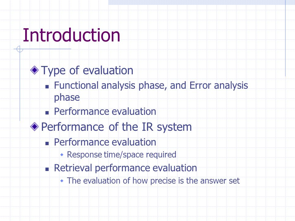 Introduction Type of evaluation Performance of the IR system
