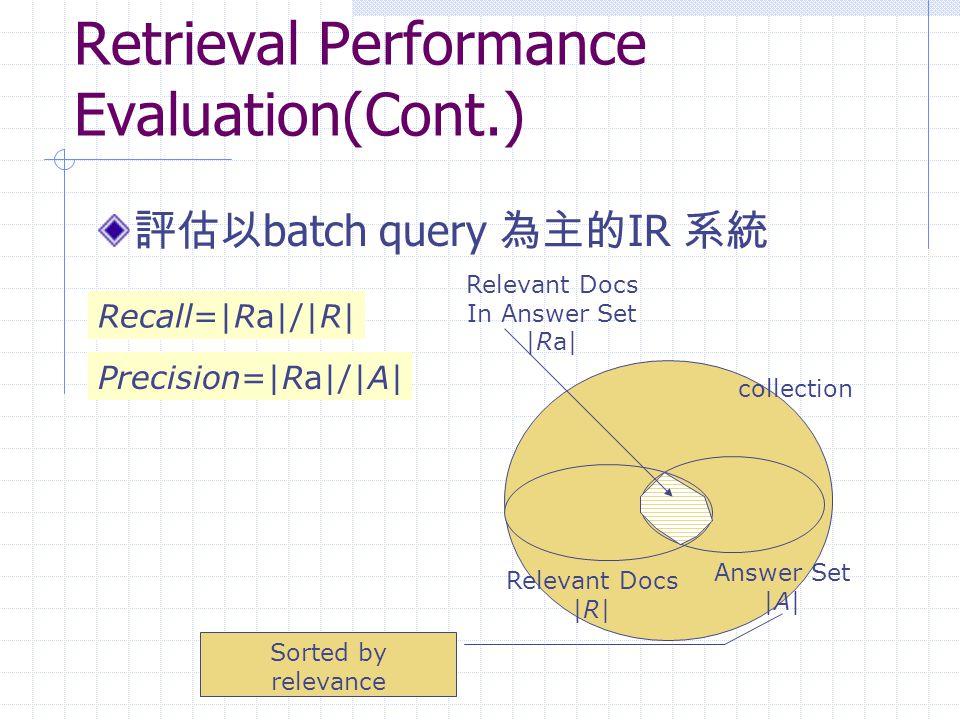 Retrieval Performance Evaluation(Cont.)