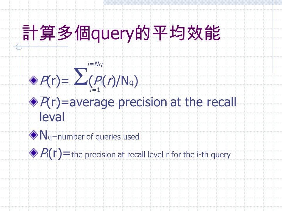 計算多個query的平均效能 P(r)= Σ(Pi(r)/Nq)