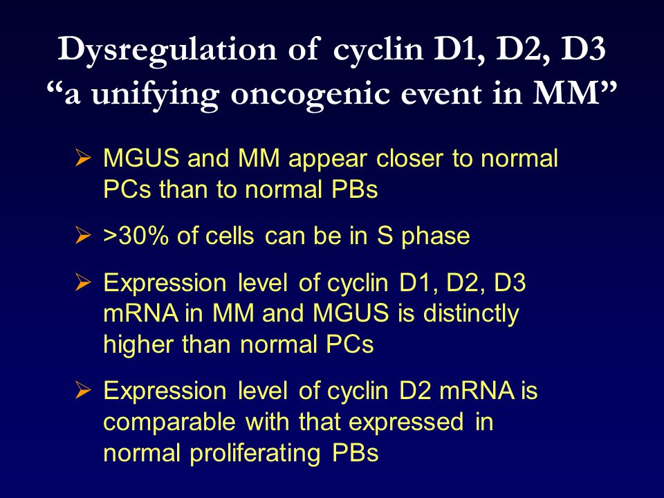 Dysregulation of cyclin D1, D2, D3 a unifying oncogenic event in MM