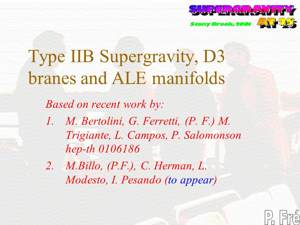 Type IIB Supergravity, D3 branes and ALE manifolds