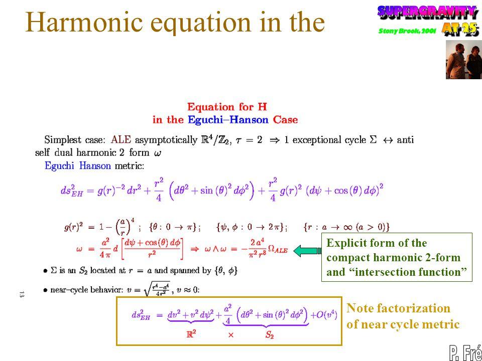 Harmonic equation in the Eguchi Hanson case