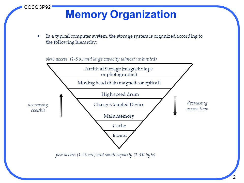Memory Organization In a typical computer system, the storage system is organized according to the following hierarchy: