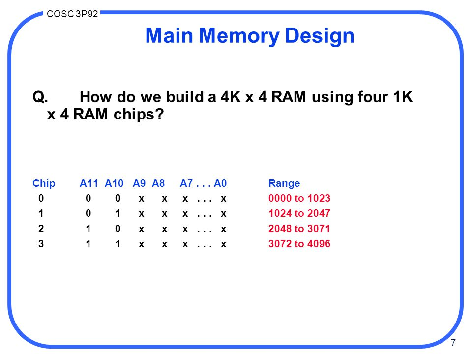 Main Memory Design Q. How do we build a 4K x 4 RAM using four 1K x 4 RAM chips Chip A11 A10 A9 A8 A7 . . . A0 Range.