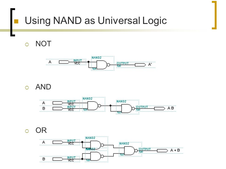 Using NAND as Universal Logic
