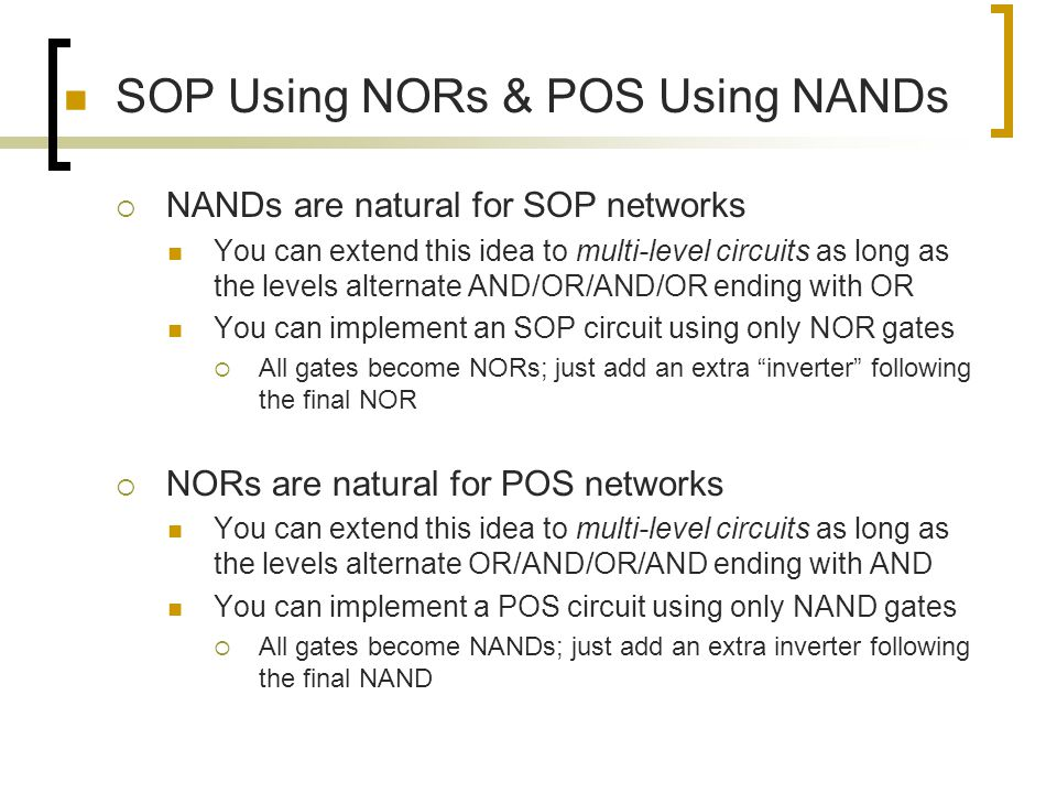 SOP Using NORs & POS Using NANDs