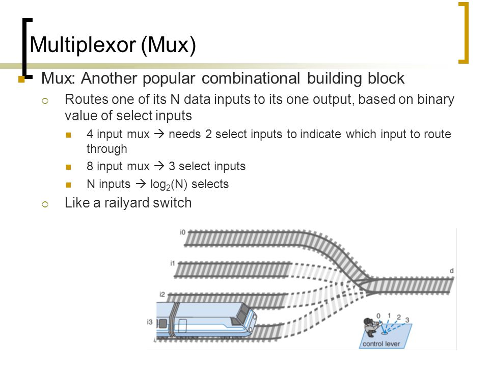 Multiplexor (Mux) Mux: Another popular combinational building block