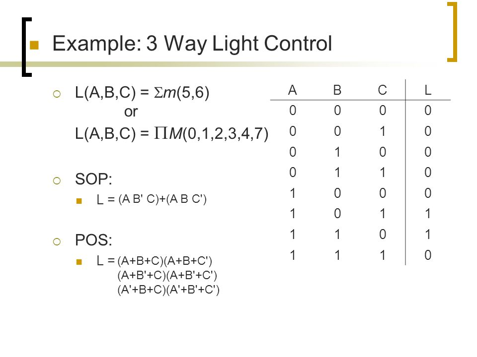 Example: 3 Way Light Control
