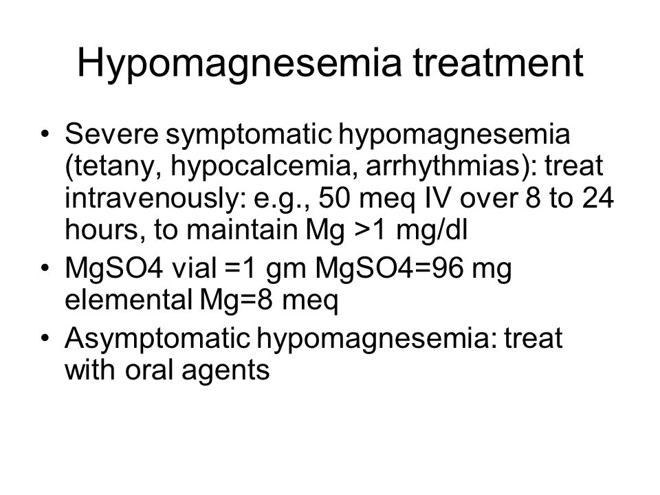 Hypomagnesemia treatment