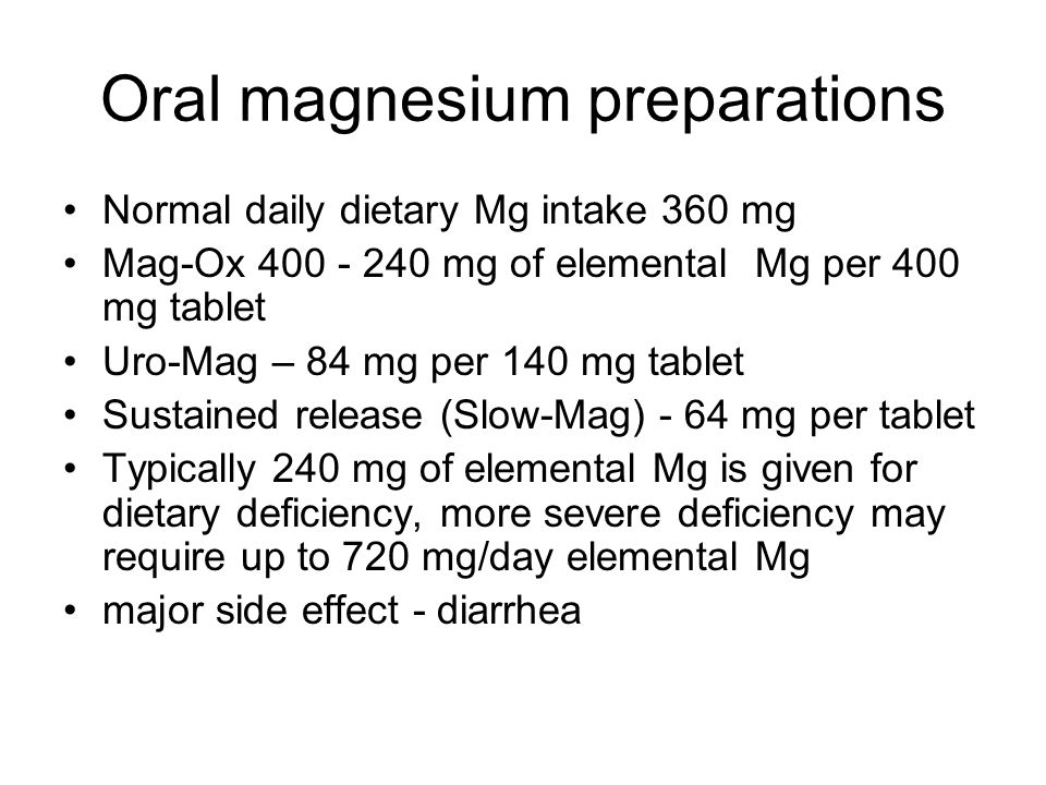 Oral magnesium preparations
