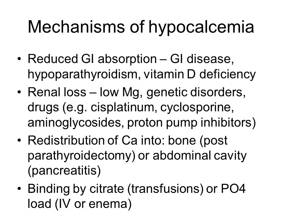Mechanisms of hypocalcemia