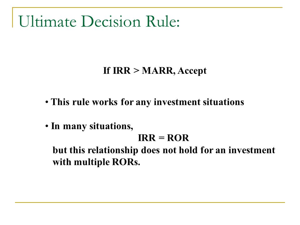 Ultimate Decision Rule: