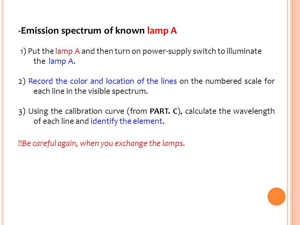 -Emission spectrum of known lamp A