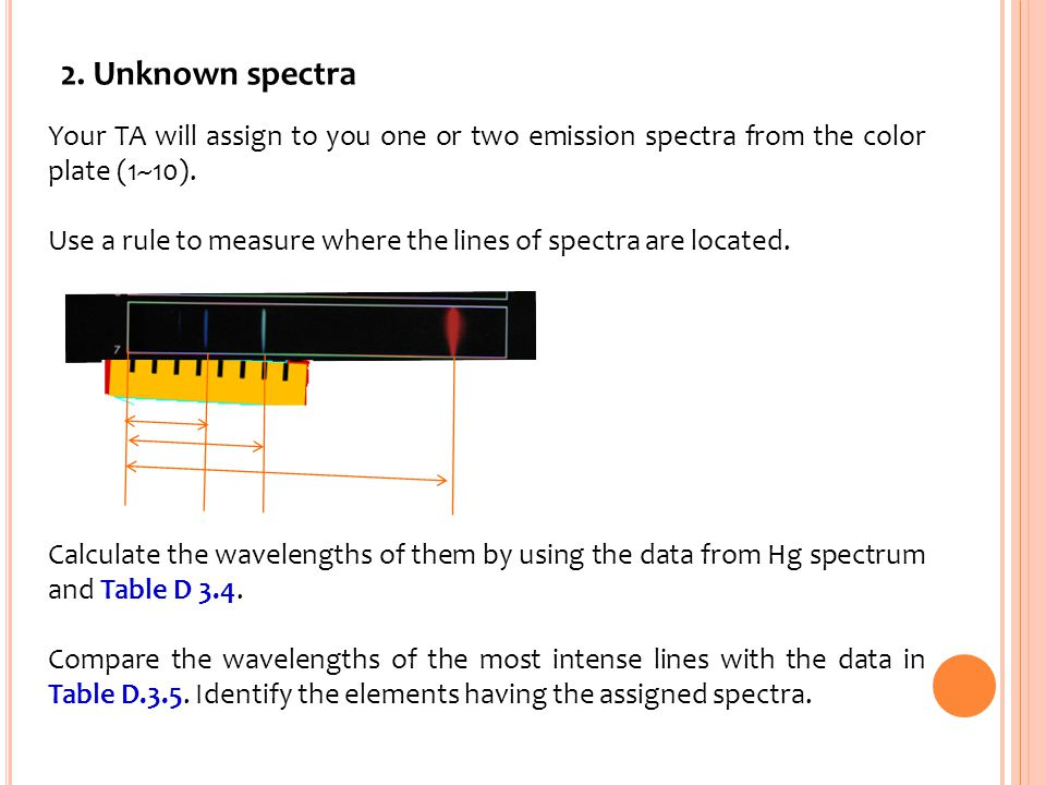 2. Unknown spectra Your TA will assign to you one or two emission spectra from the color plate (1~10).