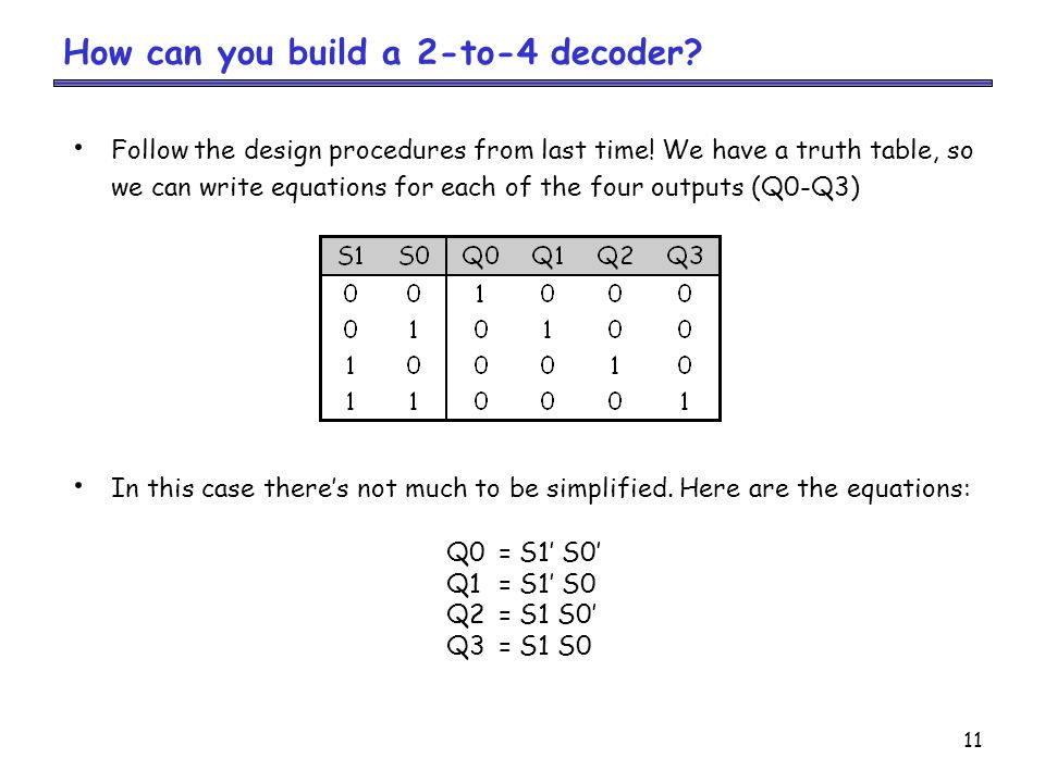 How can you build a 2-to-4 decoder