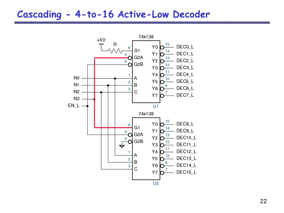 Cascading - 4-to-16 Active-Low Decoder