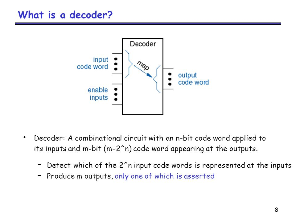 What is a decoder Decoder: A combinational circuit with an n-bit code word applied to.