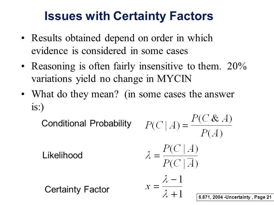 Issues with Certainty Factors