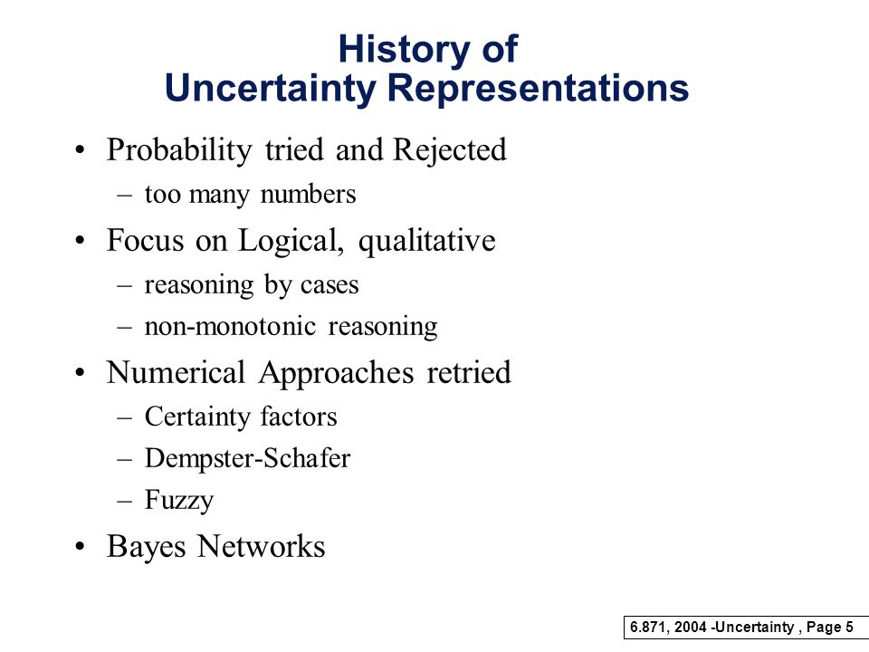 History of Uncertainty Representations