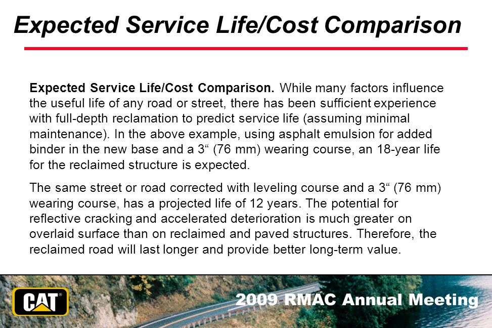 Expected Service Life/Cost Comparison