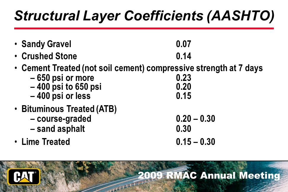 Structural Layer Coefficients (AASHTO)