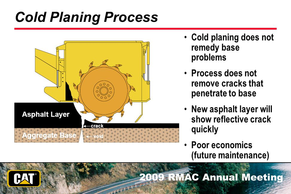 Cold Planing Process Cold planing does not remedy base problems