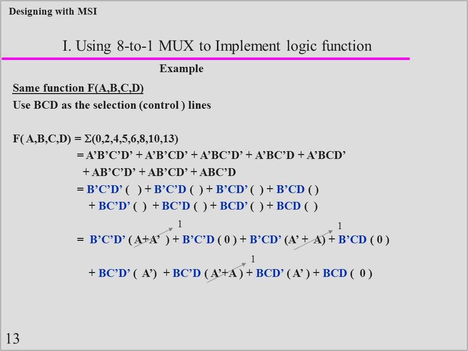 I. Using 8-to-1 MUX to Implement logic function