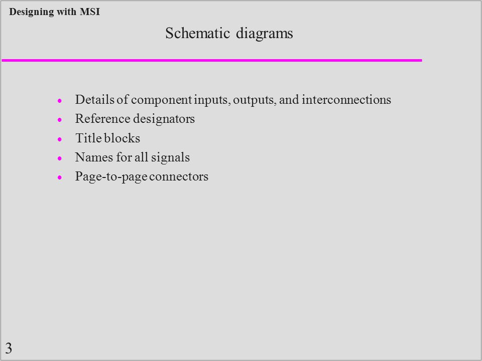 Schematic diagrams Details of component inputs, outputs, and interconnections. Reference designators.