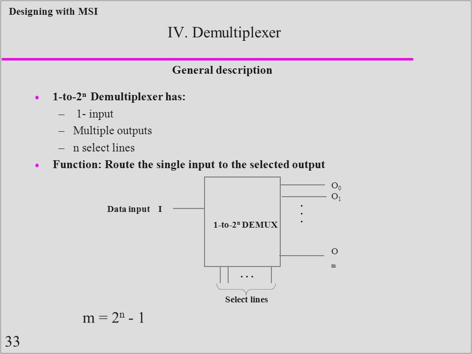 IV. Demultiplexer . . . … m = 2n - 1 General description