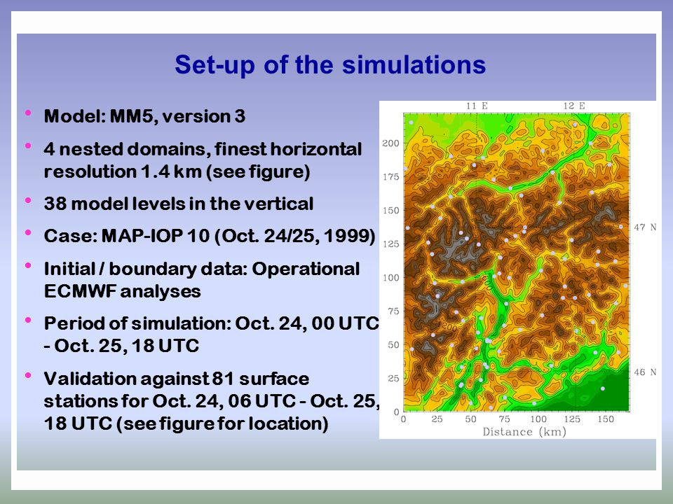 Set-up of the simulations