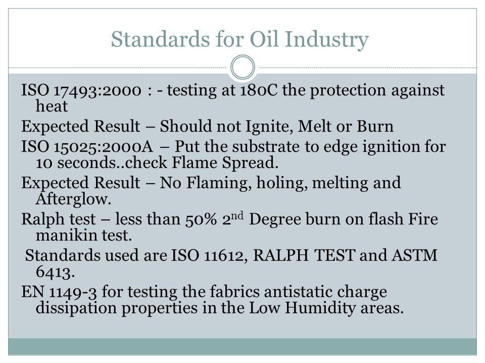 Standards for Oil Industry