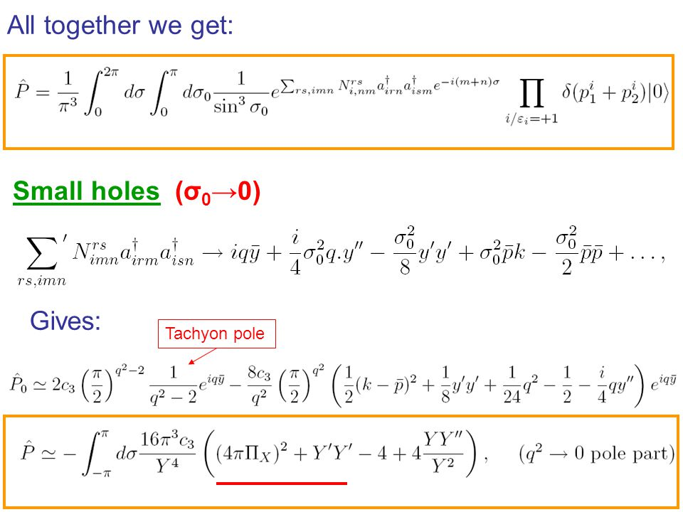 All together we get: Small holes (σ0→0) Gives: Tachyon pole